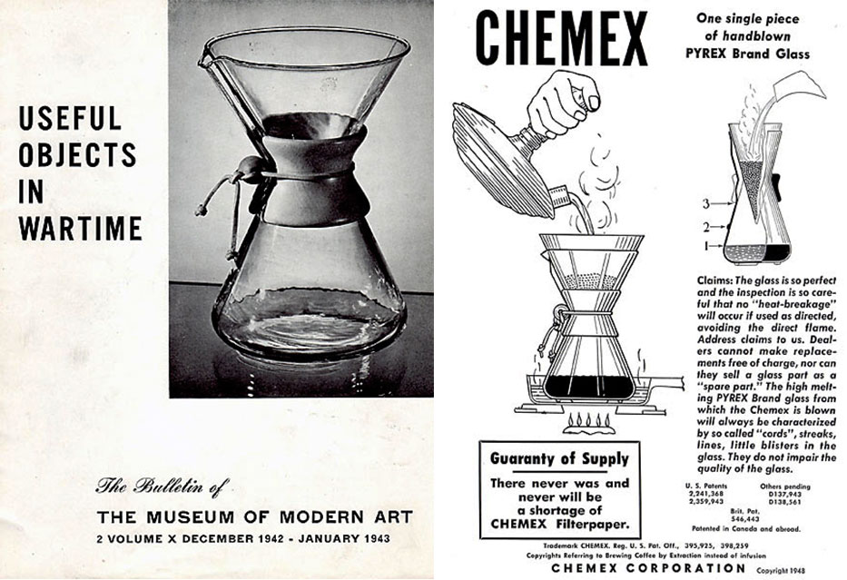 "Left, the MoMA  brochure ""Useful Objects in Wartime,"" and right, an ad explaining the Chemex preparation process, both from 1943."
