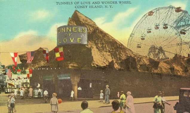 "Top: Spook-A-Rama in Coney Island, New York, still uses the Pretzel cars introduced in 1954. (Courtesy of LaffintheDark.com) Above: A vintage souvenir postcard advertises the Wonder Wheel and an ""old mill"" ride named Tunnels of Love in Coney Island, New York. (Via Ephemeral New York)"