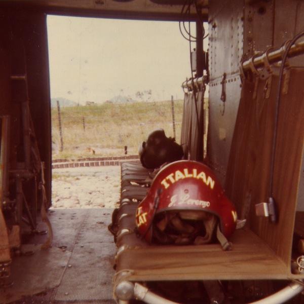 "Command aviation company Crew Chief Jim Lorenzo put his heritage on his helmet. It says ""2nd Flt Plt"" on the left and ""gunship crew chief"" on the right. (Courtesy of Jim Lorenzo, via John Jones, via VHPAMuseum.org)"
