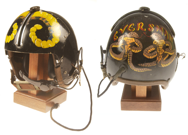 Top: Lift platoon Crew Chief John Hyatt sports a bright orange helmet with platoon and troop patch designs. (Courtesy of Hyatt, via VHPAMuseum.org) Above: An unusual early U.S. Air Force helmet used by an Army rotary-wing aviator, restored by Don Mong. (Via VHPAMuseum.org)