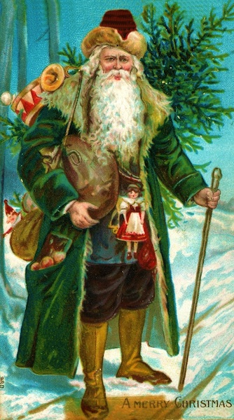 Top: A religious icon of Saint Nicholas of Myra, believed to be a generous 4th-century bishop in Asia Minor. Above: Green-coated Father Christmas emerged in Renaissance-era England as the embodiment of the holiday.