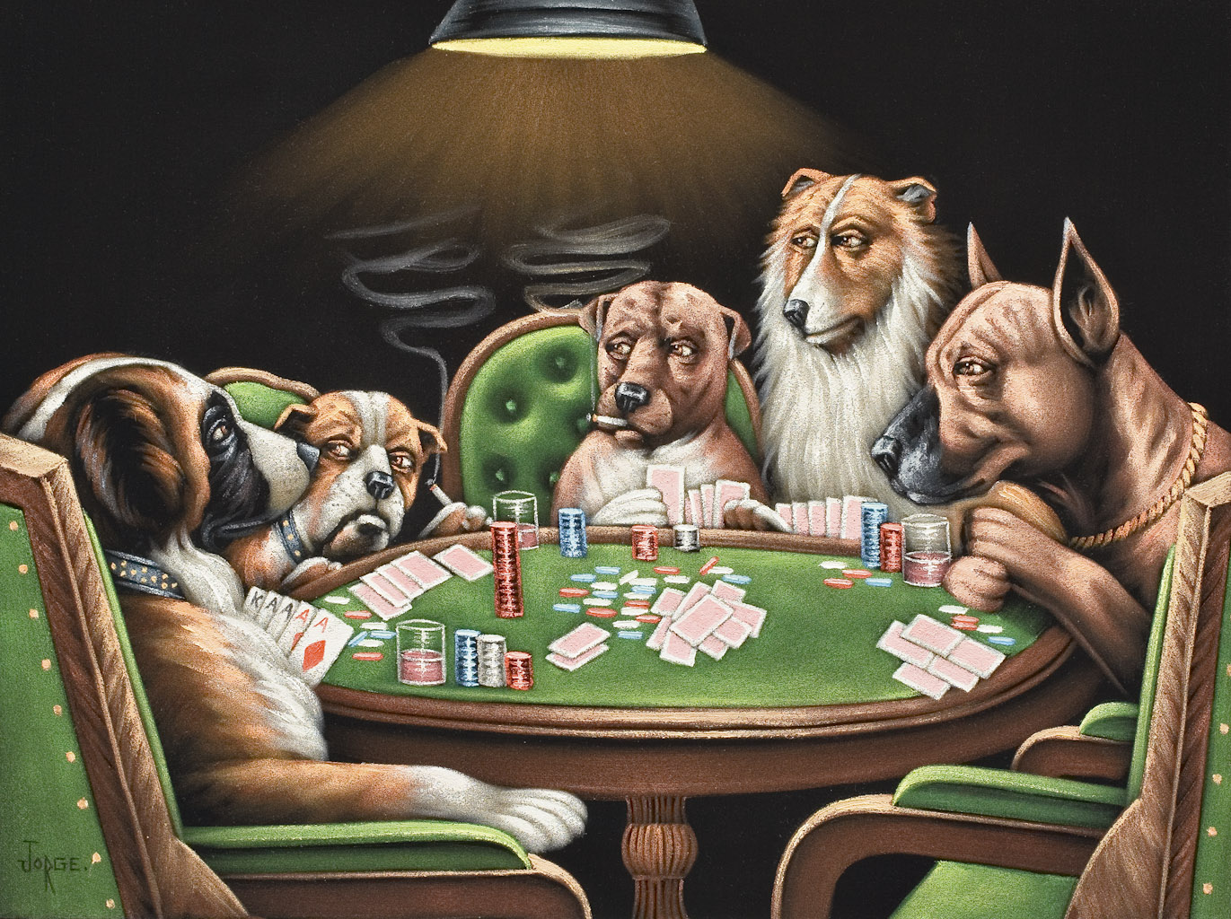 "Black velvet paintings of dogs playing poker, based on 1903 advertisements C.M. Coolidge created for Brown & Bigelow to sell cigars, often adorned the walls at Elks Lodges. (Photo by Scott Squire from ""Black Velvet Art"")"