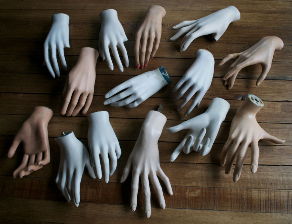 Morrisette says vintage mannequin hands are the hardest parts to find intact. Above, a few treasures from his collection. Photo courtesy ChadMichael Morrisette.