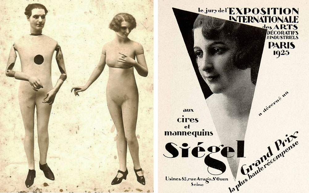 By the 1910s and '20s, mannequins often had articulated limbs, as seen with the La Rosa mannequins at left. Image via larosaitaly.com. Right, Siegel was one of the innovative producers that showed their work at the 1925 International Exposition of Decorative Arts in Paris.