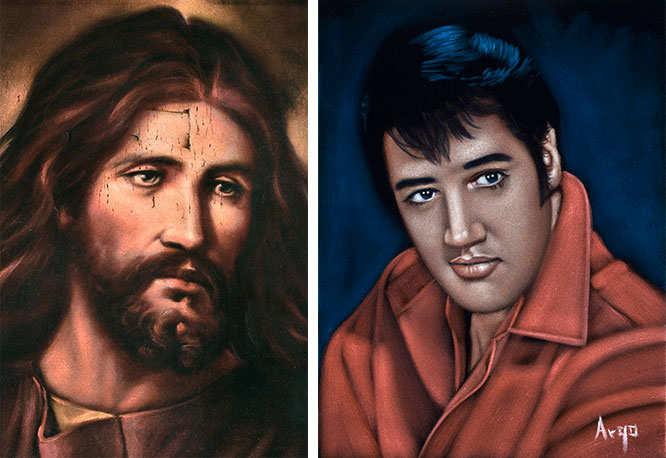 """Religious images have been painted on velvet since the Middle Ages. During the 20th century craze, Jesus was still the No. 1 figure seen on Mexican velvets, followed by Elvis, as seen on the painting at right by Argo. (Photos by Scott Squire from """"Black Velvet Art"""")"""