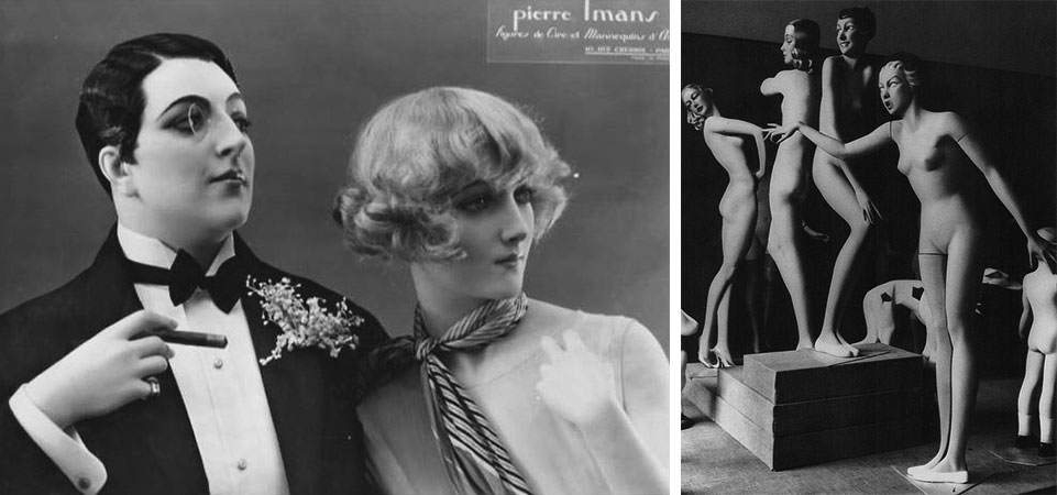 "Left, Pierre Imans created several subversive figures for the ""Streets of Paris"" exhibition in the 1920s, including this lesbian couple. Photo courtesy Marsha Hale. Right, a group of Siegel's streamlined mannequins from the 1930s."