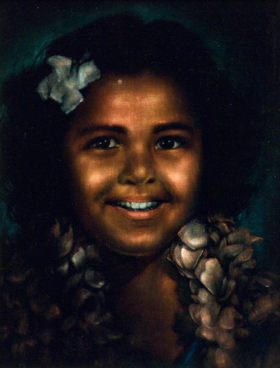 An Edgar Leeteg painting of a Tahitian child. (Courtesy of Brigham Young University Art Department Collection)