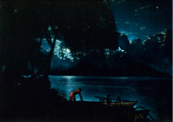 A moonlit scene of a man and his canoe by Edgar Leeteg. (Courtesy of Brigham Young University Art Department Collection)