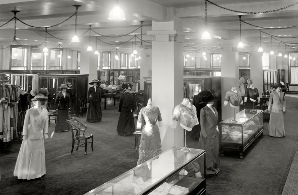 Early mannequins in Detroit's Elliott, Taylor, & Woolfenden department store circa 1910. Image via Library of Congress.