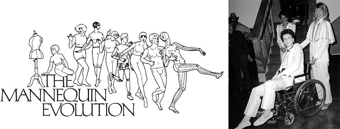 Left, in the 1980s, Bentley-Hale had this letterhead designed by Richard Carciero to showcase the historical shifts in mannequin forms. Right, Bentley-Hale followed in Gaba's footsteps and brought a tuxedo-clad mannequin as her date to a friend's Halloween party.