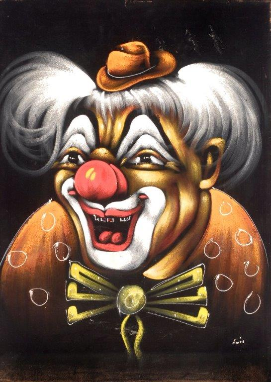 """The kid who had this clown in his or her room probably had a hard time sleeping. (From the Velveteria collection in """"Black Velvet Masterpieces"""")"""