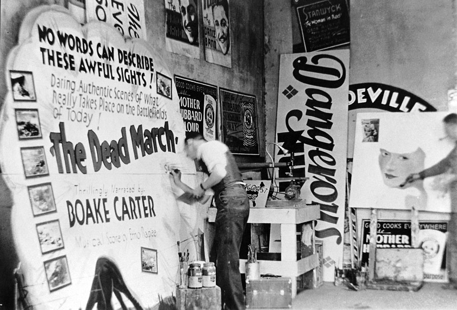 Painter Chauncey Curtis works on a silent film advertisement for a theater in Mankato, Minnesota, in the 1930s. Courtesy Faythe Levine and Sam Macon.