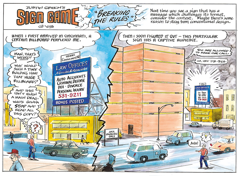 "A spread from Justin Green's ""The Sign Game,"" which suggests that the rules of sign painting should be bent in unique situations. Courtesy Princeton Architectural Press."