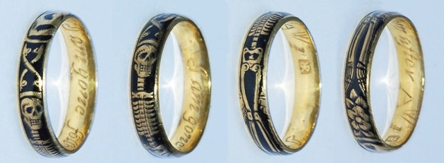 "This memento mori ring (shown in four views), circa 1700, features a death's-head skull, an hourglass, and a flower. The interior is engraved with ""I am gone follow after"" and the initials ""AWI."" (The Hairpin, via RowanandRowan.com)"