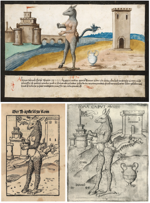 "Above: The depiction of the Tiber monster, which is said to have washed up on the banks of the Tiber river in Rome after a flood in 1496, has at least two contemporary sources. Top: ""Miracles"" ends with about 20 pages taken from the Book of Revelation, including chapter 13, verses 1-4."