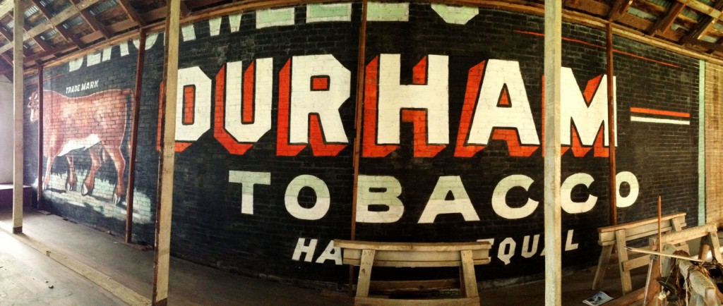 A well-preserved ghost sign for Bull Durham Tobacco from the late 19th century was recently discovered in Goliad, Texas. Photo by Molly Block.