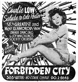 A 1940s Forbidden City newspaper ad.
