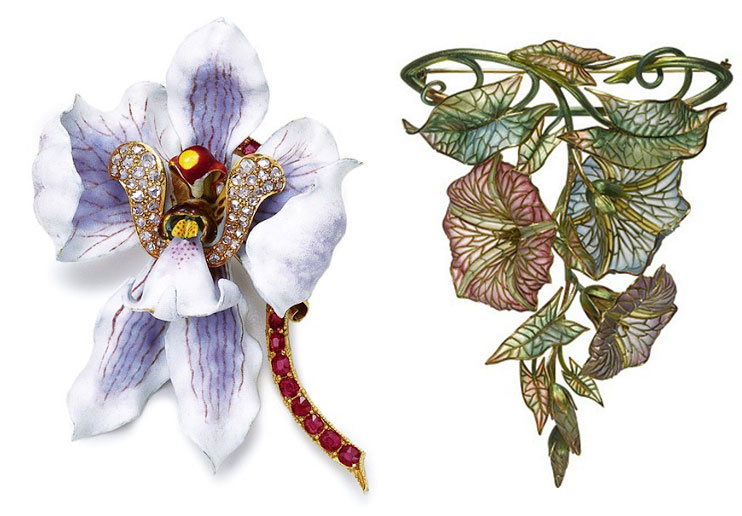 Left, an 1889 Tiffany orchid brooch made from enamel, ruby, and diamond. (Via JewelsDuJour.com, via Christie's) Right, another example of art jewelry, a 1900 plique-à-jour and gold morning glory brooch/pendant by Marcus & Co. (The Hairpin, via The Forbes Gallery in New York CIty)