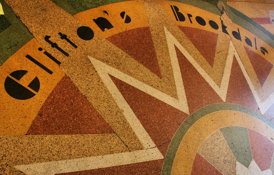 The Brookdale's colorful terrazzo sidewalk. Photo courtesy Chris Jepsen.
