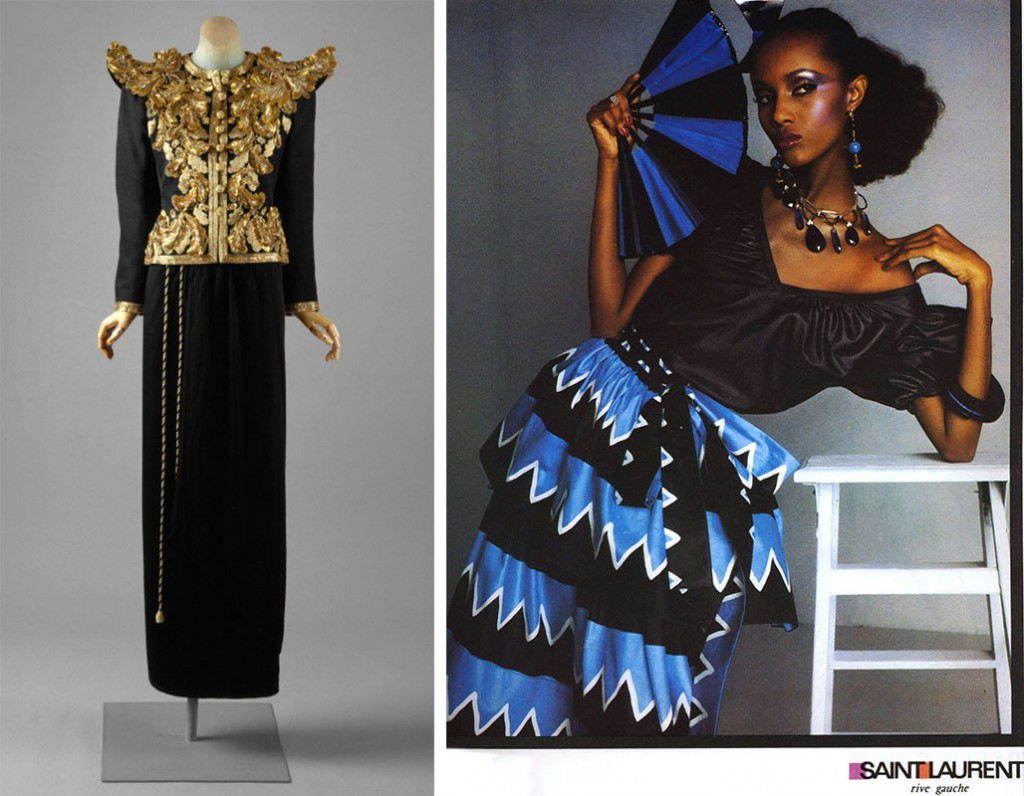 Left, this Yves Saint Laurent ensemble from 1980 raised the bar for bold shouler detailing. Via metmuseum.org. Right, Iman models for YSL's Rive Gauche line in 1980, which incorporated bright colors and excess fabrics just beneath the shoulder line.