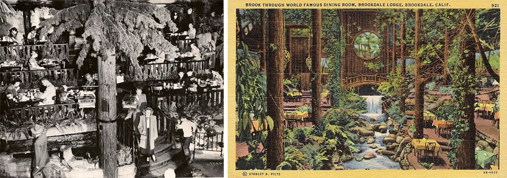Clifton's forested dining room, left, was inspired by the grand hall at the Brookdale Lodge in Brookdale, California, where Clinton spent time as a boy.