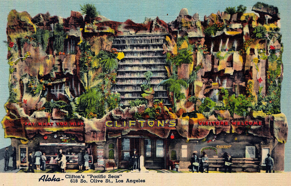 A late-1940s postcard shows the waterfall-facade of Clinton's Pacific Seas restaurant with its iconic signage.