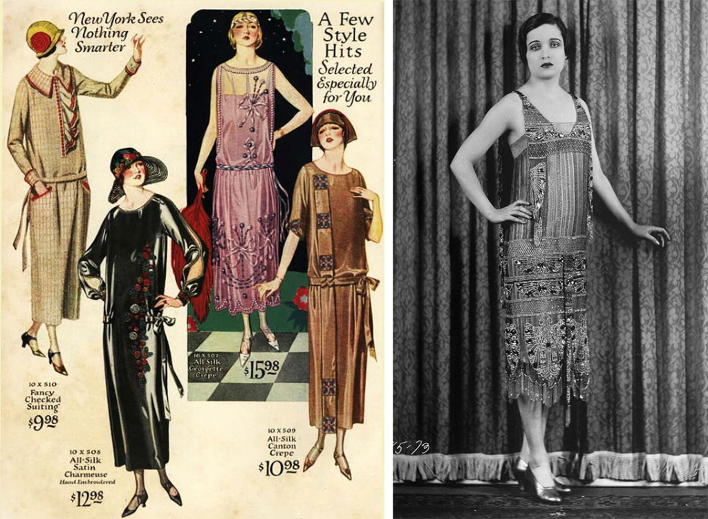 With their dropped waists and unstructured tops, party dresses of the 1920s were made for movement, like the designs at left from the National Suit & Cloak Co., circa 1924, and the beaded dress at right worn by actress Alice Joyce. Via wikipedia.com.
