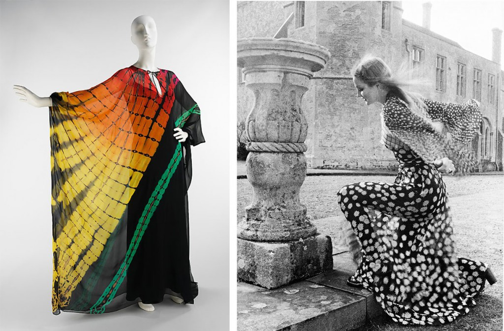 Left, a flaming tie-dye look by Halston, circa 1975. Via themetmuseum.org. Right, a model wearing an Ossie Clark dress in Vogue's July 1970 issue. Via vam.ac.uk.