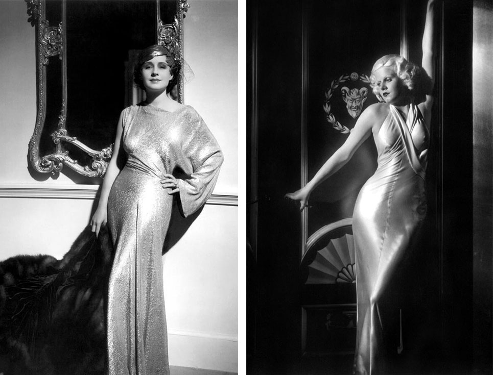Publicity stills taken of Norma Shearer (left, in 1935) and Jean Harlow (right, in 1933) flaunt their sultry, bias-cut silk dresses. Photographer George Hurrell captured the glamour of Old Hollywood styles, which amped up the sex appeal using halter tops and low-cut backs.