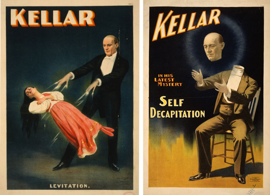 Two highly-dramatic posters depicting levitation and decapitation illusions by the infamous Kellar, circa 1894. Via wikipedia.org.