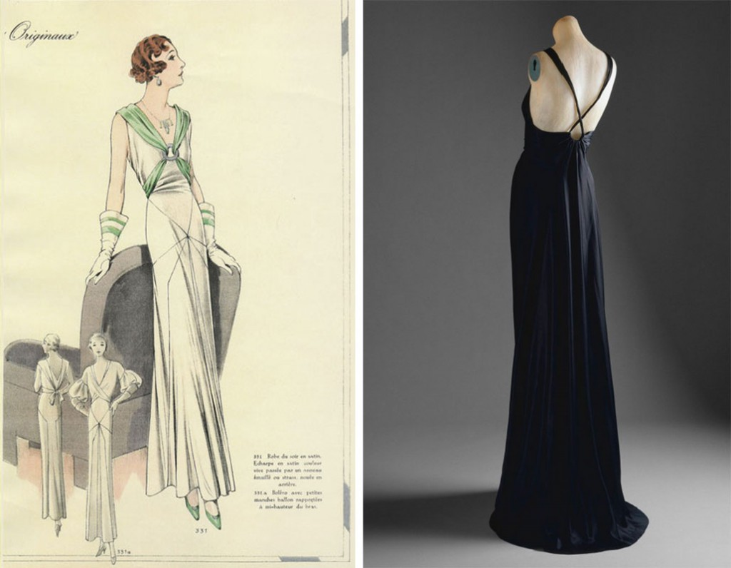 Left, this 1930s advertisement shows the diagonal seams and limited ornamentation of popular bias-cut dresses. Right, this Vionnet gown shows how low-cut backs contrasted with excessively low hemlines, even in the Depression-era when extra fabric was a true luxury. Via metmuseum.org.