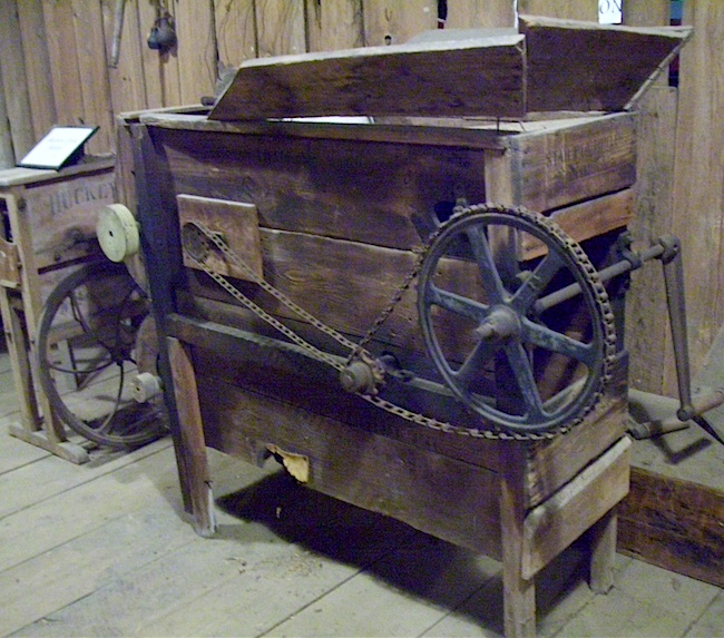 "A pea sheller at the Mendenhall Plantation, which was founded in 1811 by Quaker Richard Mendenhall. It's considered part of the ""Other South,"" meaning it was a non-slaveholding plantation, and it may have been an important stop on the Underground Railroad. (Photo by Arnold Modlin)"