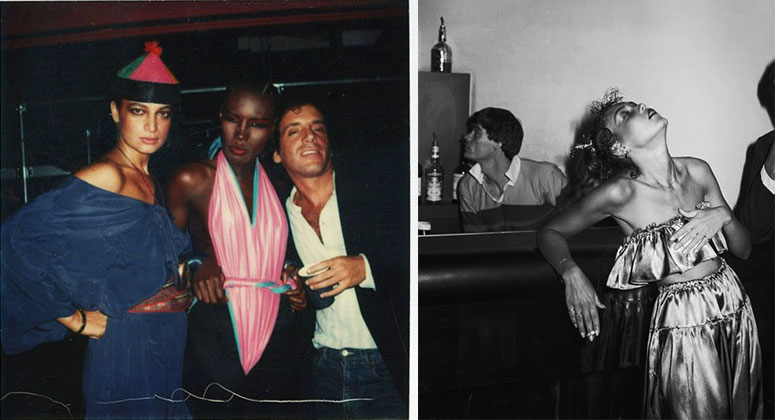 Scenes from Studio 54: Left, an Andy Warhol polaroid with Grace Jones at center, and right, a woman captured by Tod Papageorge, both circa late 1970s.