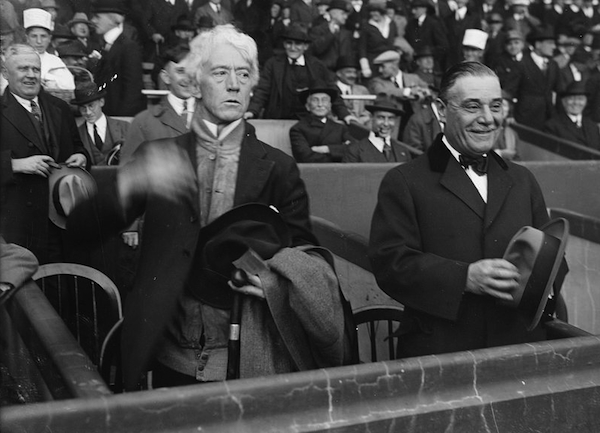 Judge Kenesaw Mountain Landis, baseball's first Commissioner, and Jacob Ruppert, Jr., in 1922. Photo via Library of Congress.