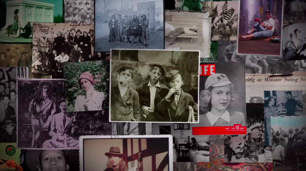 "Top: A still from archival footage taken during the 1940s. Above: a collage of youthful images used in ""Teenage."""