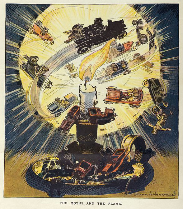 "This dark political cartoon from ""Puck"" magazine in 1907 suggested that speeding motorists were chasing death. Via the Library of Congress."