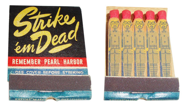"These 1940s ""feature matches"" are violent, racist, and decorated beyond function. (Photos by Frank Kelsey)"