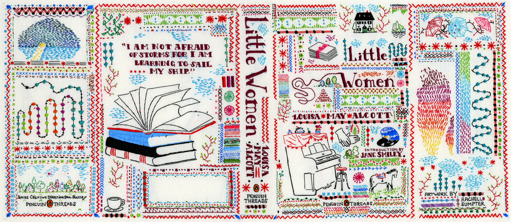 "The 2011 paperback edition of Louisa May Alcott's ""Little Women,"" one of O'Holla's most cherished books, is covered in hand embroidery by Rachel Sumpter."