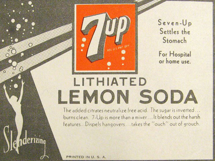 Through 1950, the ingredients for 7UP included lithium citrate, a mood-enhancer—this ad is from the 1930s.