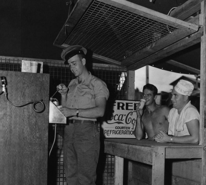 During the 1940s, Coca-Cola built soda fountains in far-flung locations in order to serve its drinks directly to American troops, like at this fountain in the Philippines.