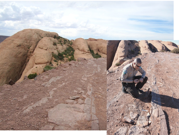 Earlier this year, a vandal removed a theropod footprint (left) from Hell's Revenge in Utah. At right, a BLM ranger at the scene of the crime. Photos courtesy the Bureau of Land Management.