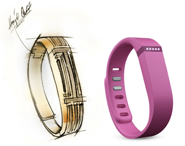 The Fitbit Flex (right) is one of many fitness wearables. later this spring, it will get a stylish update from fashion-accessories designer Tory Burch (left).