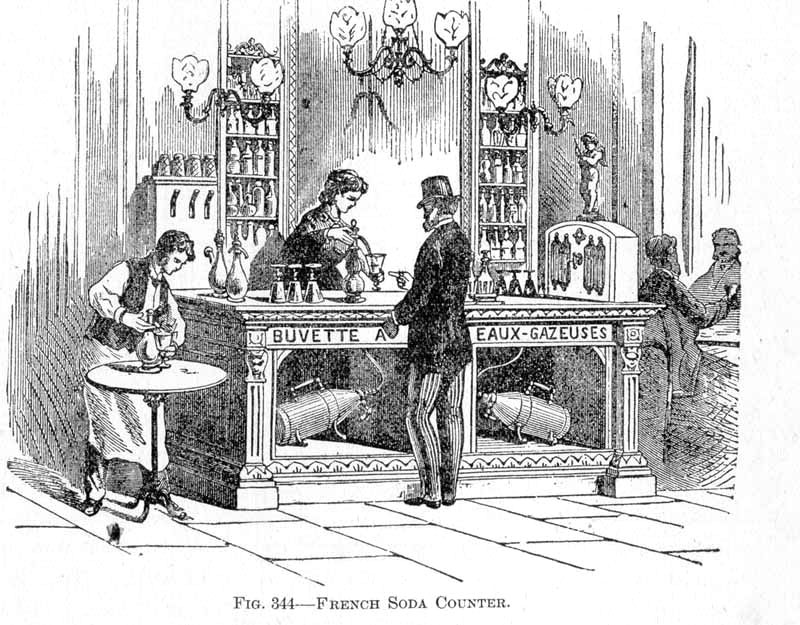 An illustration of a French soda water apparatus, featuring soda syphons and carbonating machines below the counter, circa 1830s.