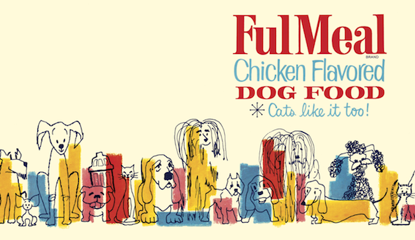 This Mid-Century Modern dog-food label was designed for a canned product packed by Plus Poultry, Siloam Springs, Arkansas.