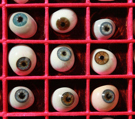 Glass eyes on display at the Science Museum of London, which houses part of pharmaceutical entrepreneur Henry Wellcome's medical collection. (Via Morbid Anatomy)