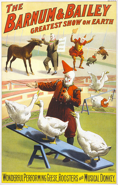 "A poster advertising the Barnum & Bailey Circus from 1900. It boast "" performing geese, roosters and musical donkey."" (Via Library of Congress)"