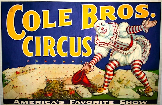 A vintage poster advertising the Cole Bros. Circus.