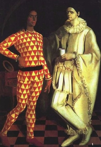 Vasilij Suhaev painted himself and Alexandre Yakovlev as Harlequin and Pierrot in 1914. (Via Russian State Museum)