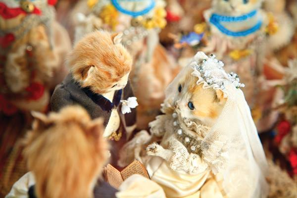 "A detail of Walter Potter's ""Kittens' Wedding,"" circa 1890. (Photo by Joanna Ebenstein, via Morbid Anatomy/Blue Rider Press)"