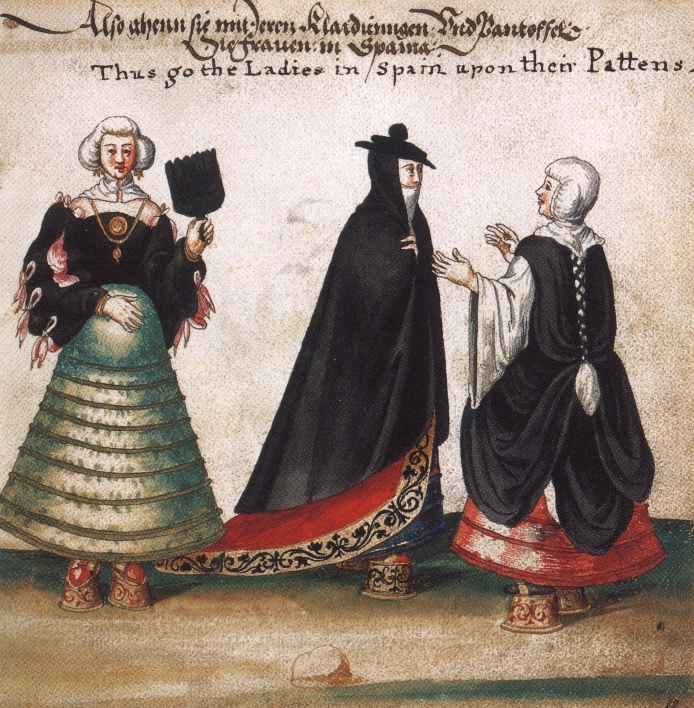 This watercolor from 1540 shows Spanish women in pattens, platform shoes that preceded chopines and were originally worn over expensive shoes to protect them from street wear. Expensive platforms like these eventually became their own signifier of status. Via the Museo Stibbert, Florence.